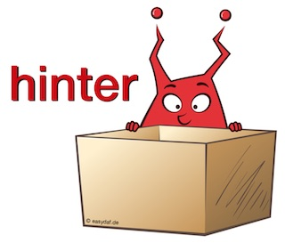 Funny character representing the German two-way-preposition hinter with color code red for dative