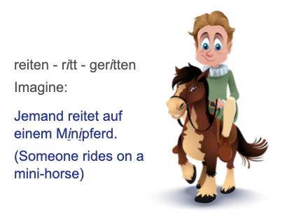 Memory trigger for irregular verb rieten. Someone riding on a small horse.