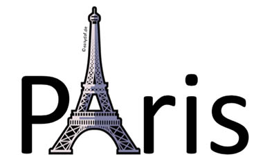 Mnemonic image for German irregular verbs. Eiffel-Tower representing the ablaut A in the Word Paris